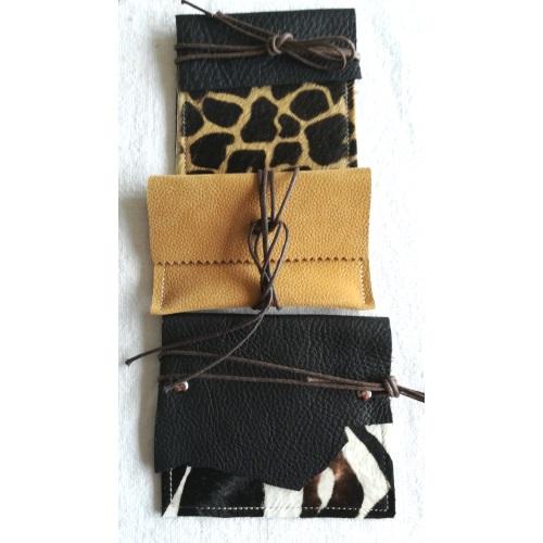 Pochette cuir et chanvre